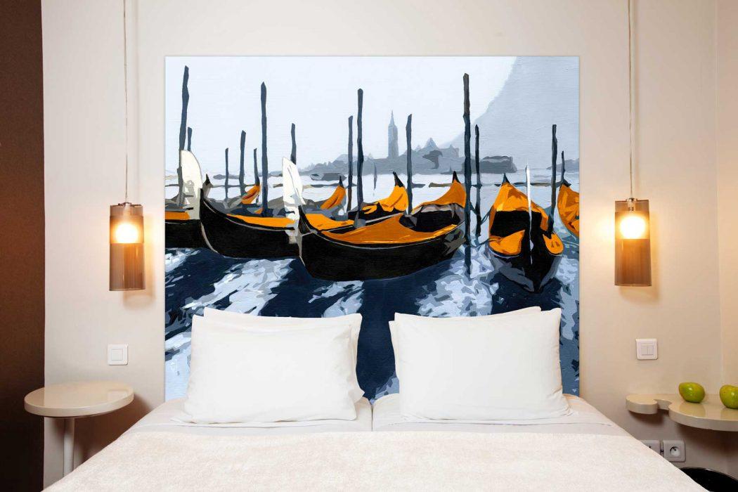 Tete de lit Les Gondoles dde Venise Orange 160*140 cm