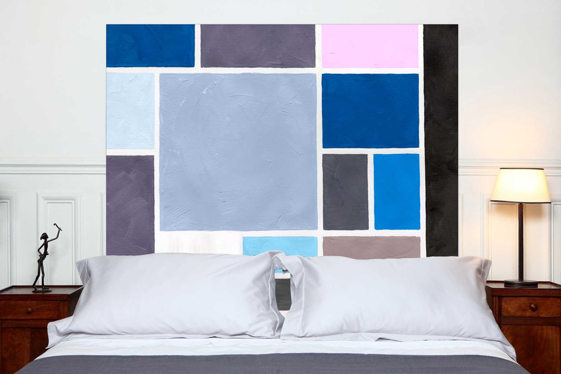 Tete de lit Poudrees Bleu 160*140 cm