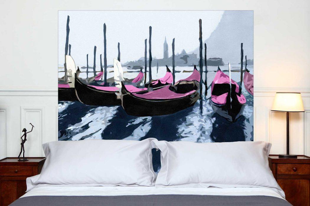 Tete de lit Les Gondoles de Venise Rose 160*140 cm