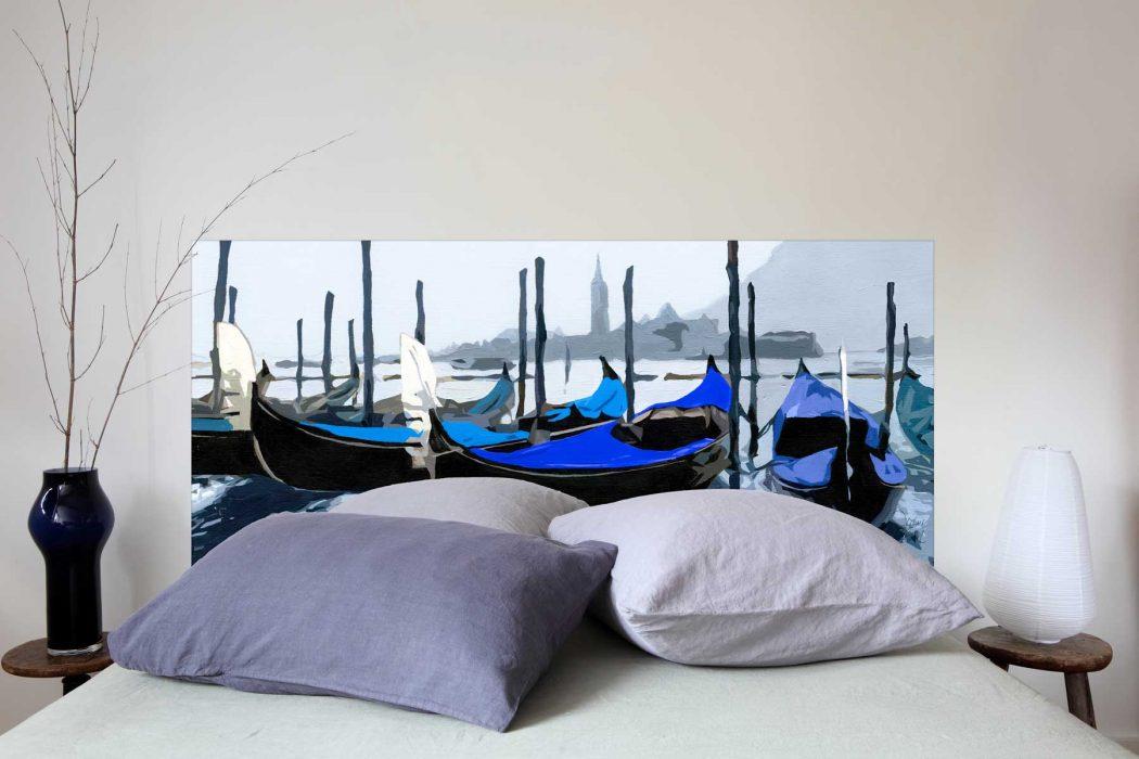 Tete de  lit Les Gondoles de Venise Bleu 160*70 cm