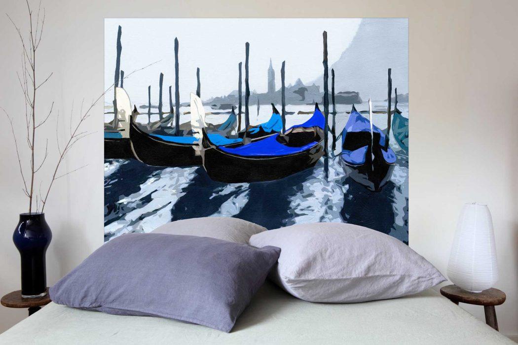 Tete de lit Les Gondoles de Venise Bleu 160*140 cm