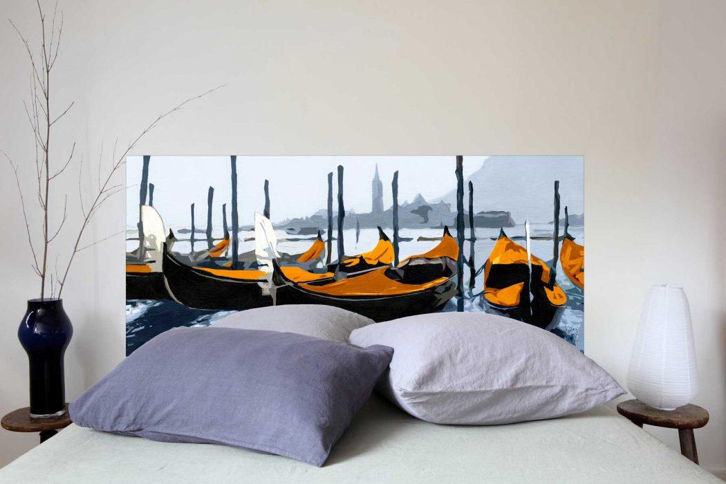 Tete de lit Les Gondoles de Venise Orange 160*70 cm