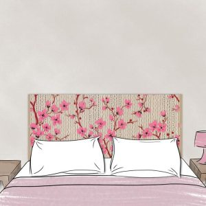 tete de lit en tissu cerisiers 160*70 dessin