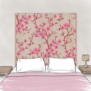 tête de lit en tissu cerisiers 160*140 cm dessin