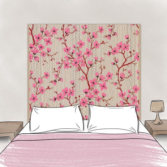 T te de lit en tissu cerisiers 160 70 cm sans support en bois for Tete de lit personnalisee