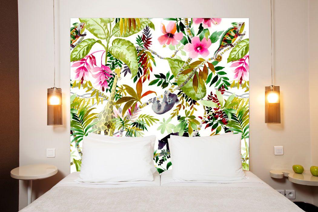 t te de lit jungle en tissu une oeuvre d 39 art en t te de lit. Black Bedroom Furniture Sets. Home Design Ideas