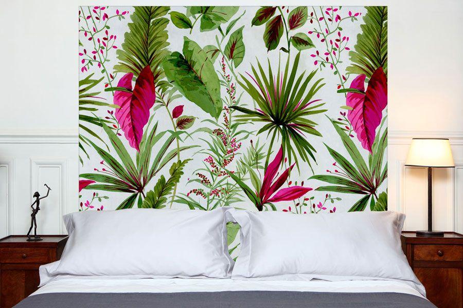T te de lit sous les tropiques en tissu 160 140 cm - Tete de lit tissu 160 ...
