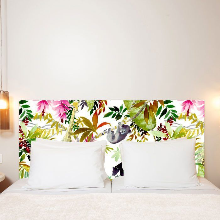 t te de lit jungle en tissu une oeuvre d 39 art en t te de lit. Black Bedroom Furniture Sets. Home Design Ideas