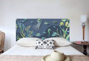 tête de lit tresors des mers format paysage 160*70 cm