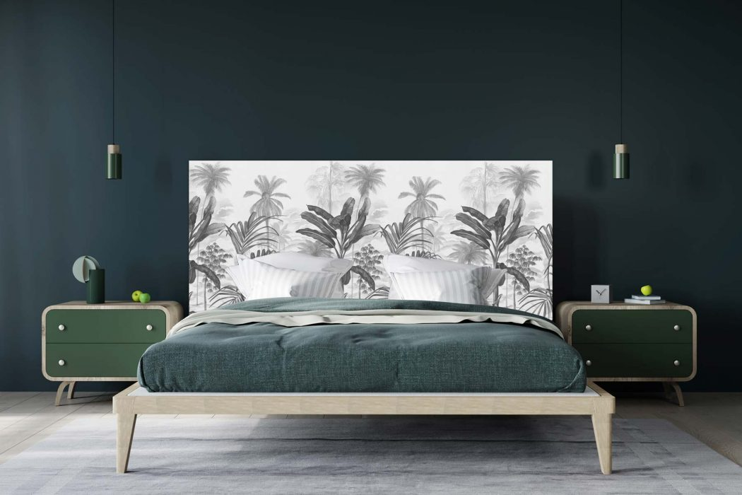 Tête de lit Jardin Tropical N&B 160*70 cm