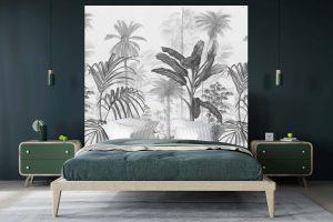 Tête de lit Jardin Tropical N&B 160*140 cm