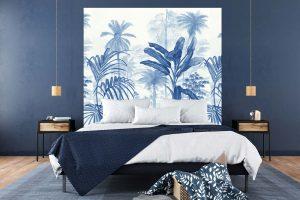 Tête de lit Jardin Tropical Bleu 160*140 cm